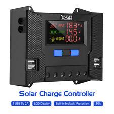 30A Solar Charger Controller Battery Regulator 12V/24V with 4 USB 5V HD Display