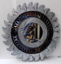 Espejo sol luna plata antigua diámetro cm 80 con mosaico de vidrio sol/luna