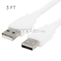 White 3FT USB 2.0 Cable Type A Male to Type A Male Cable Cord White