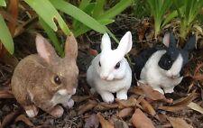 Set of 3 Bunny Rabbits - 10cm Cute Garden Ornament Figurines Life-Like Bunnies
