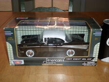 1957 CHEVY BEL AIR CAR- BLACK, MOTOR MAX- DIE CAST METAL FACTORY BUILT TOY, 1:24