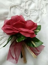 WINE RED.RUSTIC.SHABBY.VINTAGEBUTTONHOLE/WEDDING PARTY.GUEST.OCC.
