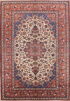 Antique Vegetable Dye Floral Ivory! 9x13ft Najafabad Oriental Area Rug Handmade
