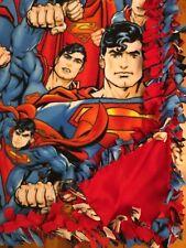 Handmade Fleece Tie-Blanket Reversible Dc Comic Superman Superhero 58X72 - 2 lyr