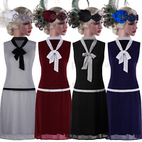 Bow Retro 1920s Flapper Dress Gatsby Party Formal Evening Midi Dress Roaring 20s