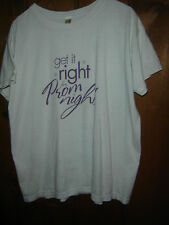 Vintage Anvil T Shirt L Cotton Graphic White/Purple GET IT RIGHT FOR PROM NIGHT