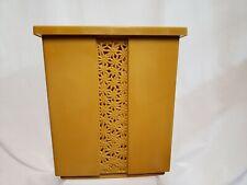 Fesco Vtg Mcm Mid Waste Basket 8908 Gold Flower Daisy Bath Trash Can Plastic