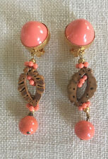 DeLILLO  gold tone, coral colored bead & nut shell clip earrings~VINTAGE~MINT