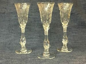 CAMBRIDGE ROSE POINT PATTERN ~ CLEAR CORDIALS ~ SET OF 3 IN PERFECT CONDITION!