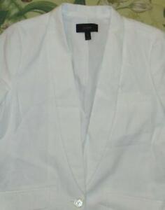 J CREW White Linen Cotton Blend Blazer Jacket 6