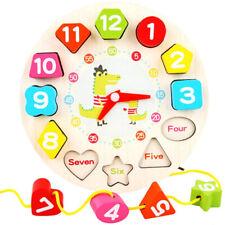 Early Educational Toys Kids Wooden Digital Clock Jigsaw Colours Numbers Shape Tt