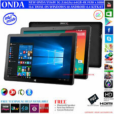 "ONDA V116W 3G 64GB 11.6"" INTEL 2.16GHz DUAL OS WINDOWS 10 ANDROID 4.4 TABLET PC"