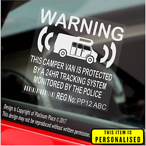 4 x PERSONALISED Camper Van Security Stickers Tracker RV Campervan Motorhome GPS