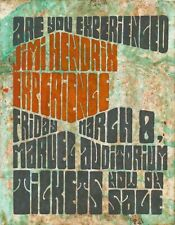 1968 Jimi Hendrix Experience Hand Painted Concert Poster Brown University Ri !