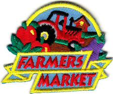 """FARMERS MARKET"" - Iron On Embroidered Applique /Fruit, Vegetables, Produce"