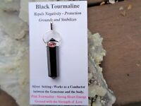 Black+Pink Tourmaline Silver Pendant -Double Protection+Strong Heart Energy!