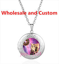 Vintage Galaxy Cat Cabochon Tibetan silver Glass Locket Pendant Necklace HZ-4530