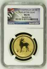 2003 AUSTRALIA Lunar YEAR of the Goat 1 oz .9999 pure Gold G$100 Coin NGC MS70