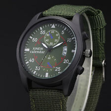 XINEW Male Calendar Canvas Strap Analog Quartz Outdoor Army Casual Wrist Watch