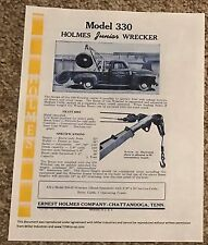 1958 Ernest Holmes 330 Junior wrecker tow truck sales brochure 2 page