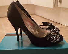 CHIX Sexy Black Satin Gem Front Bow High Stiletto Heel Party Shoes Size 3 BNWB