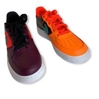 Kid's Nike Air Force 1 Low AT3407-600 Bordeaux Hyper Jade Orange Black Size 7Y