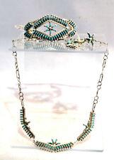 Zuni Silver Jewelry set w/ Necklace Bracelet Ring Post Earrings /w Turquoise