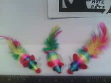 Mice Cat Toy - Sisal, Rattle feather tail  lot of 25