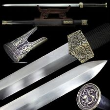 Sharp Double-edged Treasured Battle Sword Hand Forged Pattern Steel Blade #T092