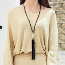 women Charm Beads Leather Tassels Pendant Long Chain Sweater Necklace Jewelry