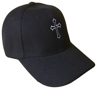 Black Christian Cross Religious Baseball Cap Caps Hat God Jesus White Stitch OL
