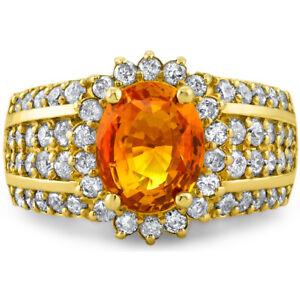 Certified 3.53cttw Orange Sapphire 1.40cttw Diamond 14KT Yellow Gold Ring