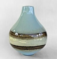 """Art Glass Vase 12"""" Tall Beautiful Unique With Blue, Brown, Ivory Natural Colors"""
