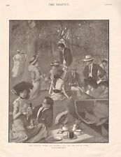 1901 ANTIQUE PRINT - EIGHTS WEEK AT OXFORD-TEA ON THE RIVER SIDE