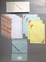 Vintage 1980s FLORAL Stationery Flowers Design Envelopes LOT Writing Paper Sheet