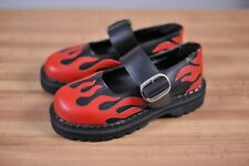 New Demonia Mary Jane Heels Red Flame Black Leather Women's 6