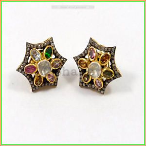 Imperil Tops Multi Tourmaline & Pave Diamond Earring Jewelry 925 Sterling Silver