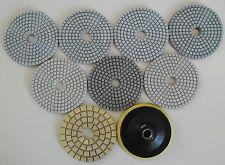 """Diamond Polishing Pads 4""""100mm Wet, set of 8 plus Backer for Marble Granite etc"""