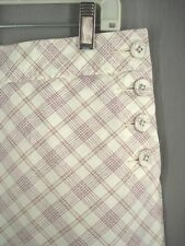 Dockers skort skirt shorts size 8 S cream pink green plaid cotton summer