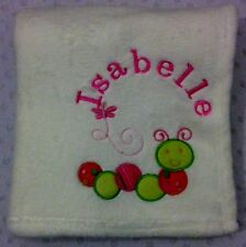 Personalised Cream Baby Blanket With Caterpillar. Great Gift.