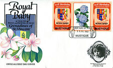 MUSTIQUE 1982 BIRTH OF PRINCE WILLIAM 60c GUTTER PAIR FIRST DAY COVER (b)