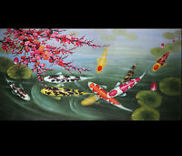 Japanese Koi Fish Painting Abstract Art CANVAS ONLY UN-FRAMED Giclee Print