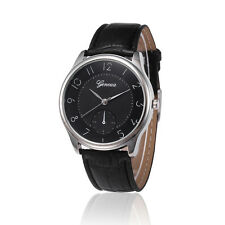 Mens Luxury  Leather Band Watches Casual Black Quartz Analog Wrist Watch