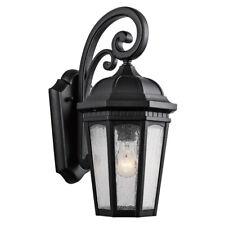 """Kichler 9033Bkt Courtyardâ""""¢ 17.75"""" 1 Light Wall Light Textured Black Seedy Glass"""