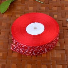 Flower Printed Sheer Organza Ribbon 25mm Embroidered Trim Party Sewing Red 10Y
