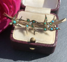 Victorian 9ct Yellow Gold Turquoise And Pearl Triple Sweetheart Swallow Brooch.