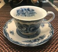 Antigue Blue Rose Fine China Coffee Cup & Saucer Set Lot of 2