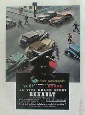 PUBLICITE RENAULT LA VIVA GRAND SPORT SIGNAUX TRAFIC VERT ROUGE DE 1939 AD PUB