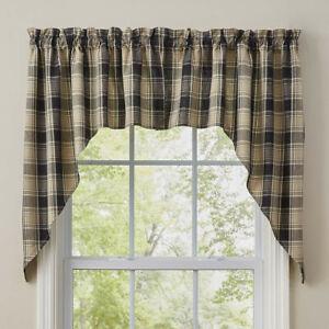 "1 pair Soapstone Black Plaid Rustic Country Farmhouse Cotton Swags 72"" x 36"""