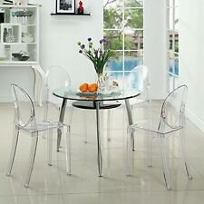 Ghost Chair Set of 4 Philippe Starck Style Transparent Furniture NEW